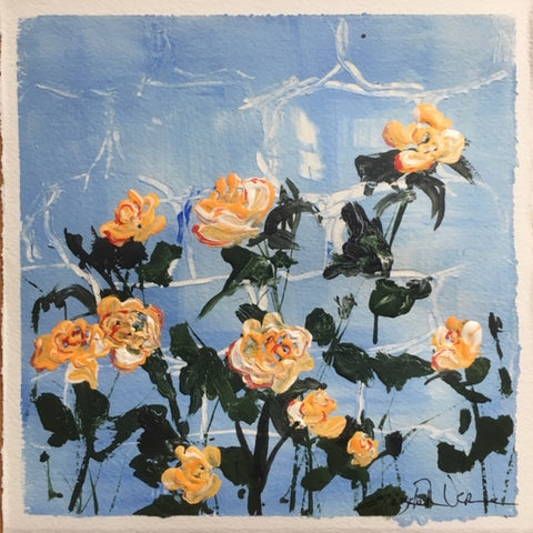 Painting - Abstract floral, golden roses