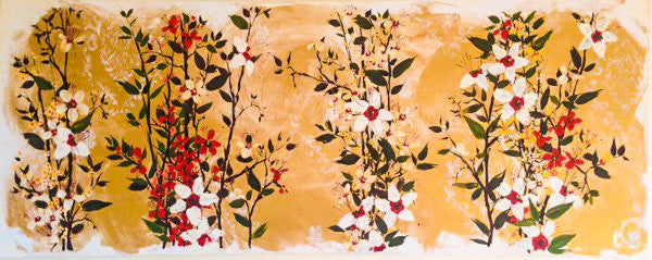 Painting (large) - Three Thousand Petals with Happiness Symbol