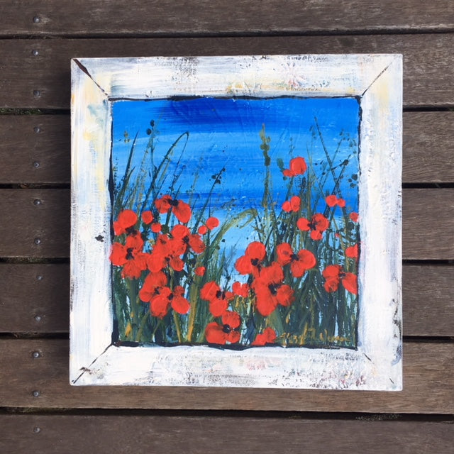 Painting - Poppies and seascape