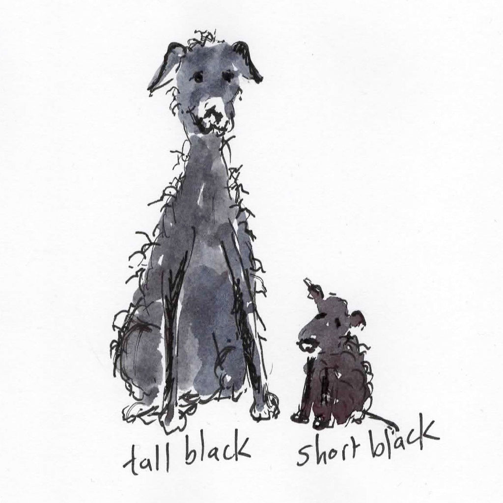 Card (Coffee dogs collection) tall black, short black