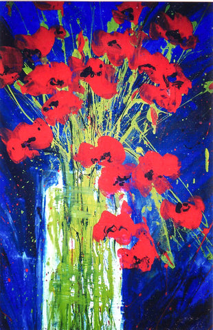 Print - Vase of poppies