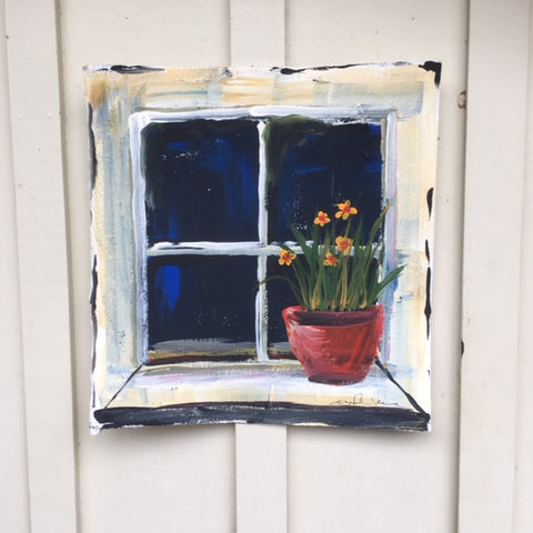 Painting - Window pot with daffodils