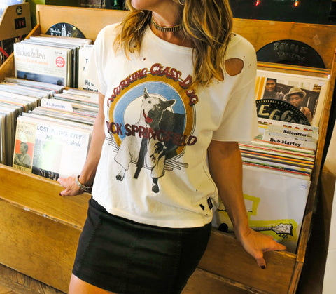 woman in Trunk Ltd retro concert T-shirt featuring Rick Springfield's Working Class Dog album