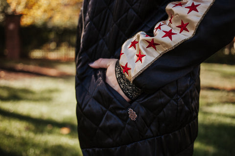 Scotch & Soda reversible black quilted silk bomber jacket with red-embroidered star detail on the sleeve