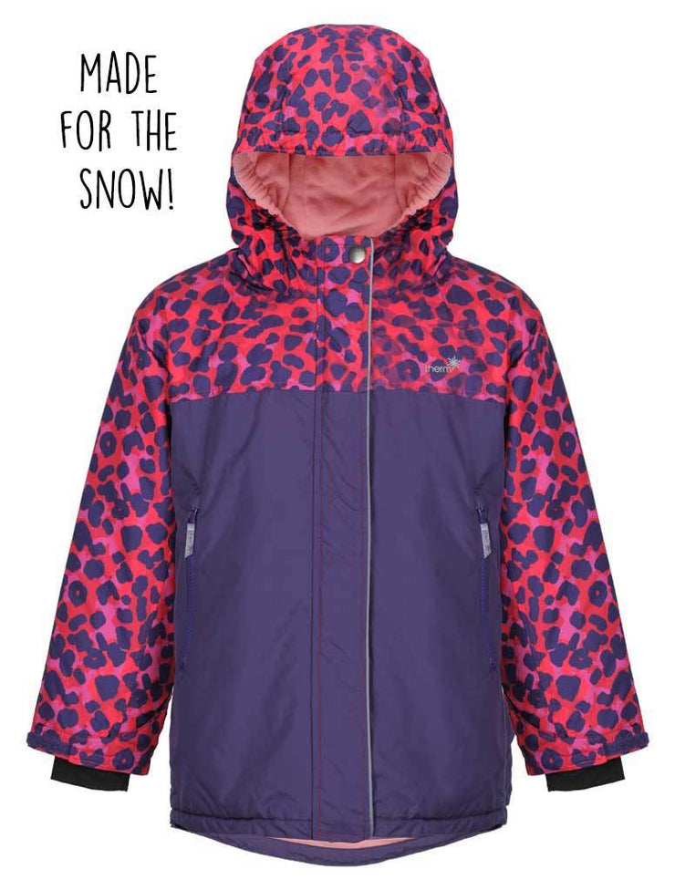 Waterproof & Windproof Snowrider Ski Jacket - Purple Leopard