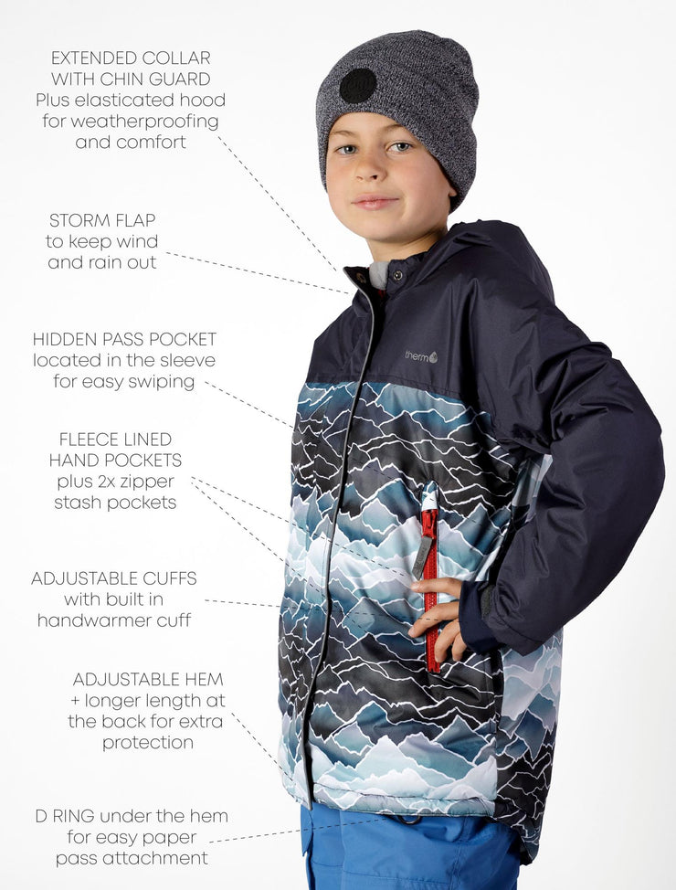 Waterproof & Windproof Snowrider Ski Jacket and Pant Set - Mountains/Blue
