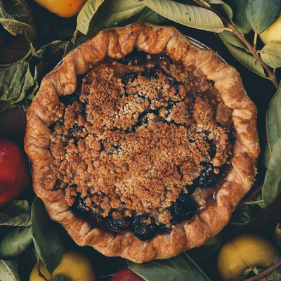 Pear and Roasted Grape Pie with Marzipan Crumble