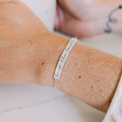 "Words By Heart:Keep the Faith, 2"" Bar Bracelet:Asheville, NC"
