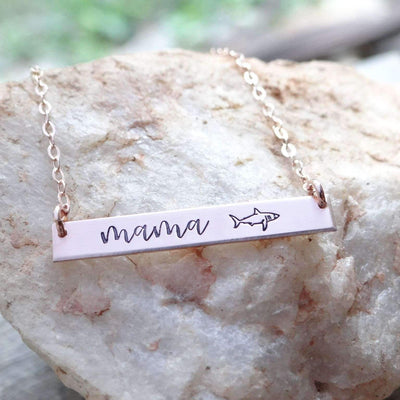 Words By Heart:Mama Shark, Small Thin Horizontal Bar Necklace:Asheville, NC