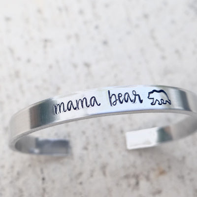 Words By Heart:Mama Bear (with bear), Cuff Bracelet:Asheville, NC
