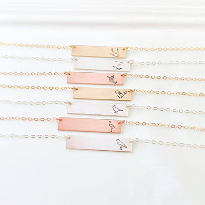 Words By Heart:Bird Collection, Horizontal Bar Necklace:Asheville, NC