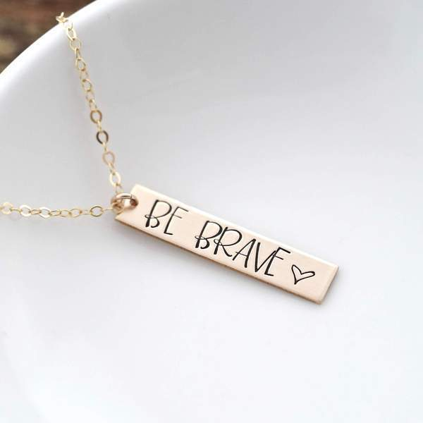 Words By Heart:Be Brave (with heart), Vertical Bar Necklace:Asheville, NC
