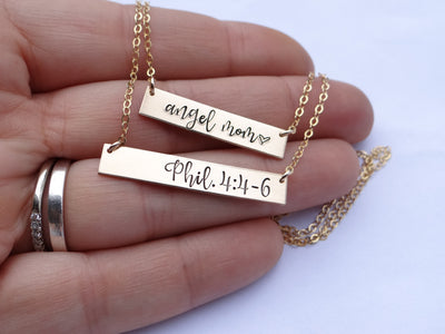Words By Heart:Create Your Own (Standard Size) Personalized Bar Necklace:Asheville, NC