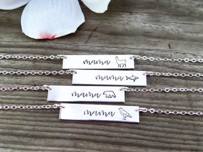 Words By Heart:Mama Animal Bar Necklace:Asheville, NC