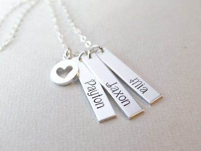 Words By Heart:Personalized Vertical Bar Necklace with Heart Charm:Asheville, NC
