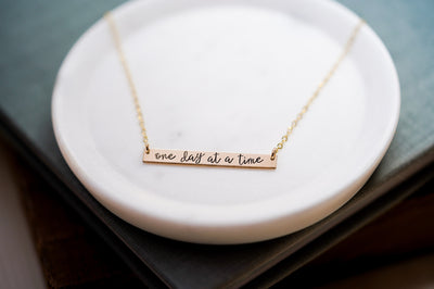 One Day At A Time, Large Thin Bar Necklace