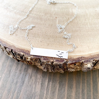 Words By Heart:Flock Of Birds, Standard Horizontal Bar Necklace:Asheville, NC