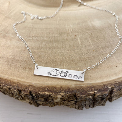 Words By Heart:Pumpkin Patch, Standard Horizontal Bar Necklace:Asheville, NC