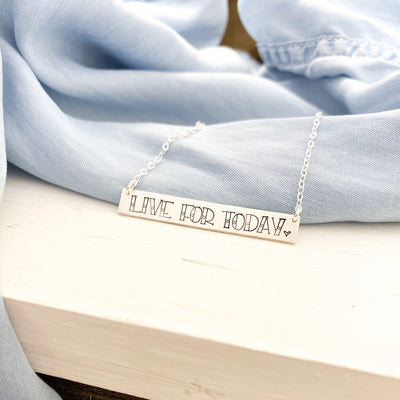 Words By Heart:Live For Today (with heart), XL Horizontal Bar Necklace:Asheville, NC