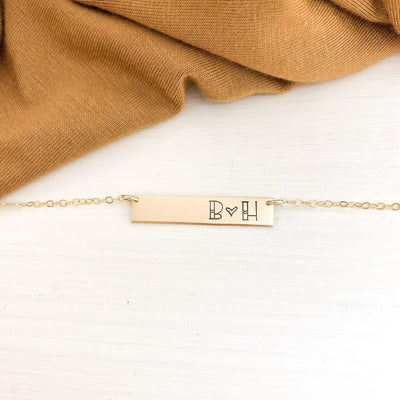 Words By Heart:Personalized Heart Split Initial Bar Necklace:Asheville, NC
