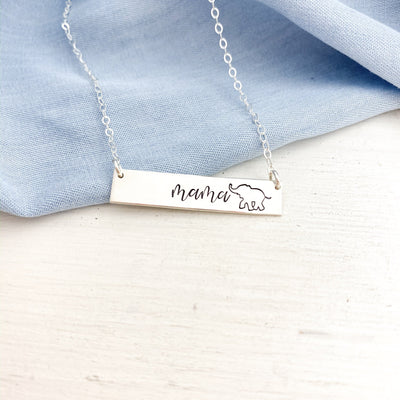 Words By Heart:Mama Elephant, Personalized Horizontal Bar Necklace:Asheville, NC