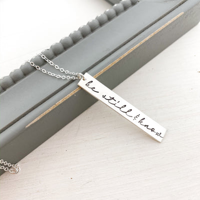 Words By Heart:Be Still & Know, Large Horizontal Bar Necklace:Asheville, NC