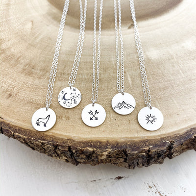 "Words By Heart:Nature Themed Collection, 1/2"" Disc Necklace:Asheville, NC"