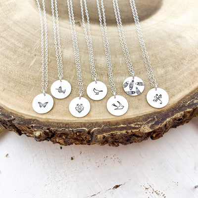 "Words By Heart:Insect + Bird Themed Collection, 1/2"" Disc Necklace:Asheville, NC"