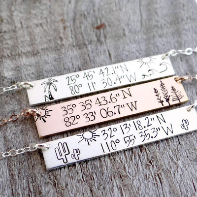 Words By Heart:Personalized Latitude Longitude Scene, Horizontal Bar Necklace:Asheville, NC