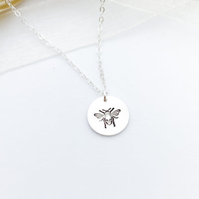"Words By Heart:Honey Bee, 1/2"" Disc Necklace:Asheville, NC"