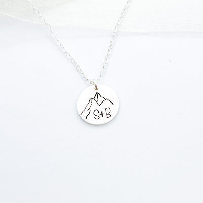 "Words By Heart:Personalized Initial Mountain, 1'2"" Disc Necklace:Asheville, NC"