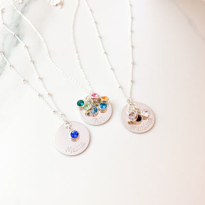 Personalized Disk Necklace with Birthstones