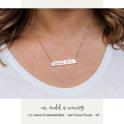 Words By Heart:Love You More (with heart), Large Horizontal Bar Necklace:Asheville, NC