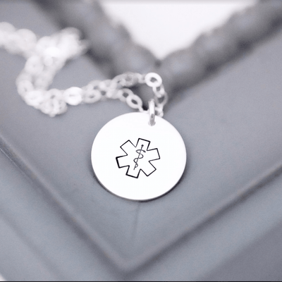 "Words By Heart:Emergency Medical Alert, 1/2"" Disc Necklace:Asheville, NC"
