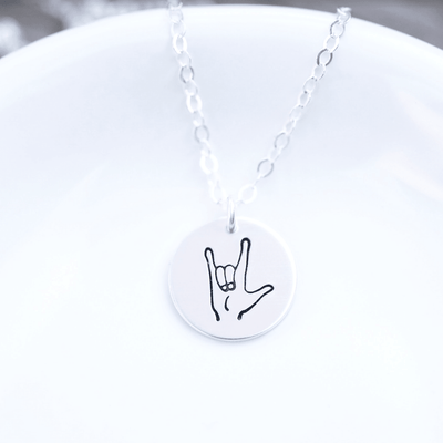 "Words By Heart:ILY Sign Language, 1/2"" Disc Necklace:Asheville, NC"