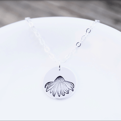 "Words By Heart:Coneflower, 1/2"" Disc Necklace:Asheville, NC"