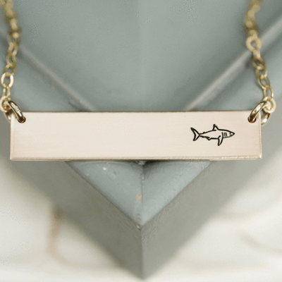 Words By Heart:Shark, Horizontal Bar Necklace:Asheville, NC
