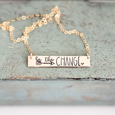 Words By Heart:Be The Change (with arrow and heart), Horizontal Bar Necklace:Asheville, NC
