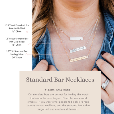 Words By Heart:Brave, Large Horizontal Bar Necklace:Asheville, NC
