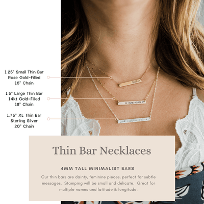 Words By Heart:Bee, Bar or Disc Necklace:Asheville, NC