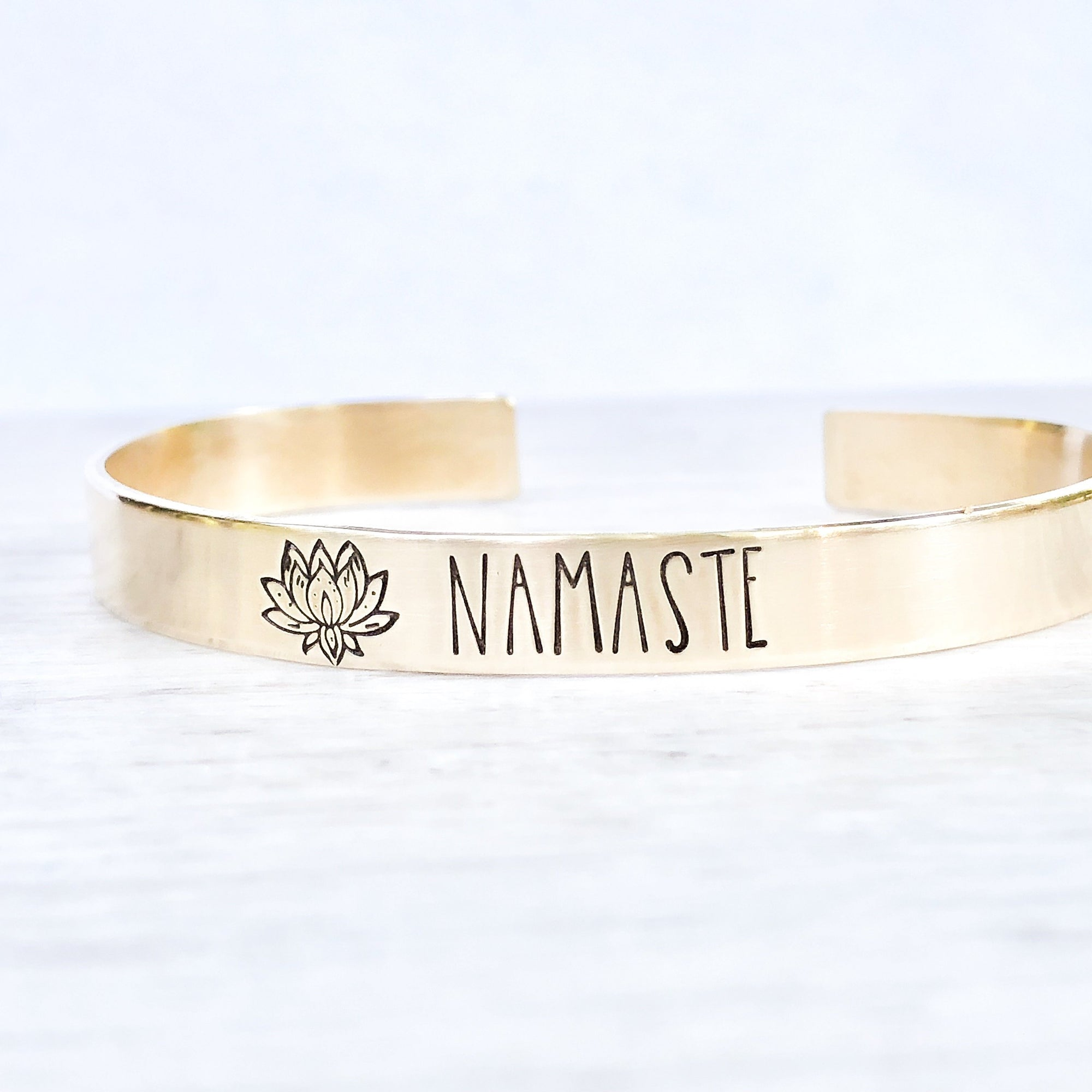 Words By Heart:Namaste (with Lotus Flower), Cuff Bracelet:Asheville, NC