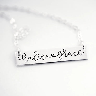Names with Heart-Link Bar Necklace