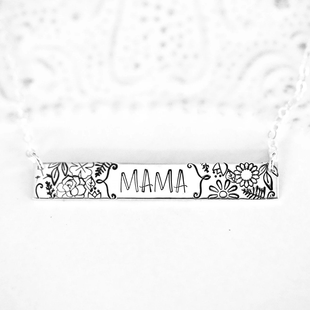Words By Heart:Floral Mama Bar Necklace:Asheville, NC