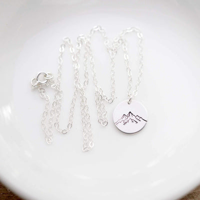 "Words By Heart:Mountain Range, 1/2"" Disc Necklace:Asheville, NC"