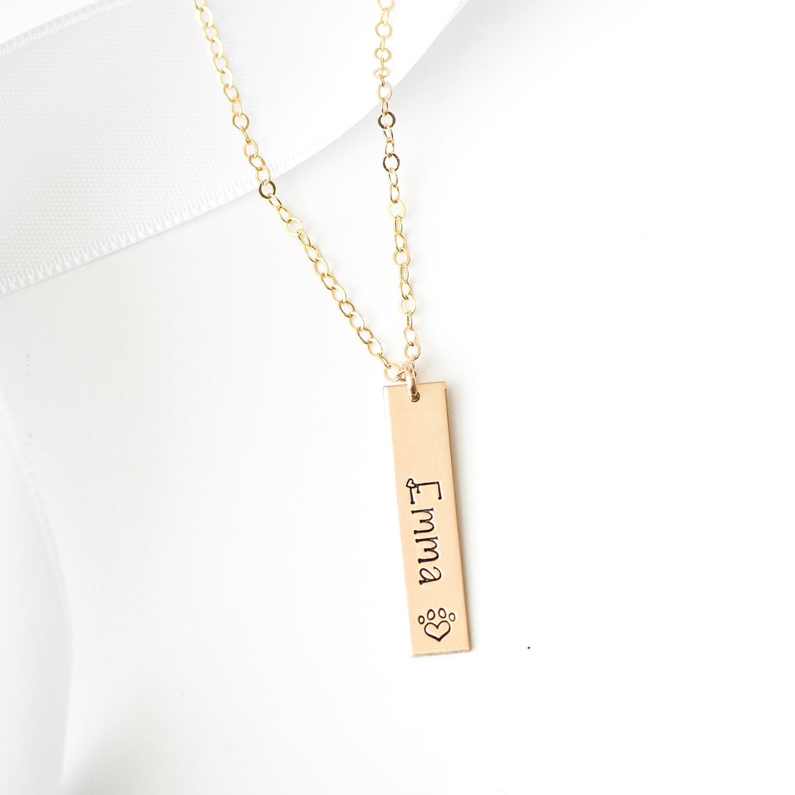 Words By Heart:Personalized Paw Print Vertical Bar Necklace:Asheville, NC