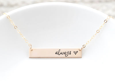 Words By Heart:Always (with heart), Horizontal Bar Necklace:Asheville, NC