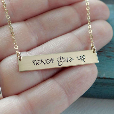 Words By Heart:Never Give Up, Horizontal Bar Necklace:Asheville, NC