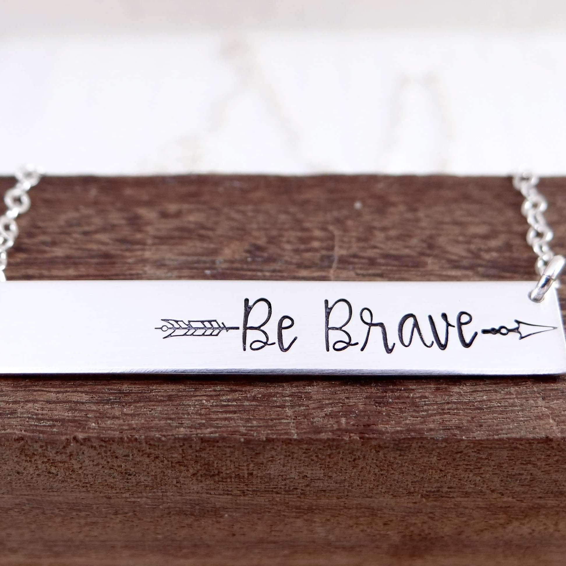 Words By Heart:Be Brave Split Arrow, Horizontal Bar Necklace:Asheville, NC