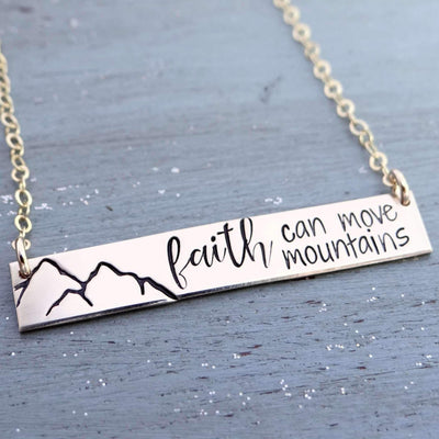 Words By Heart:Faith Can Move Mountains, Horizontal Bar Necklace:Asheville, NC