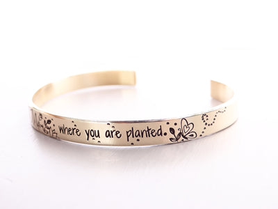 Bloom Where You Are Planted Floral Cuff Bracelet